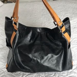 Kenneth Cole Black and Tan patent leather bag